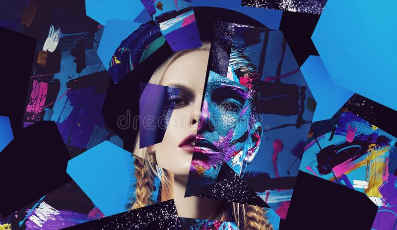 Portraits of blonde woman and colorful body art woman stock photography