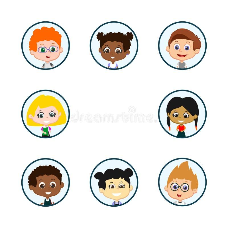 Portraits d'enfants de cercle illustration de vecteur