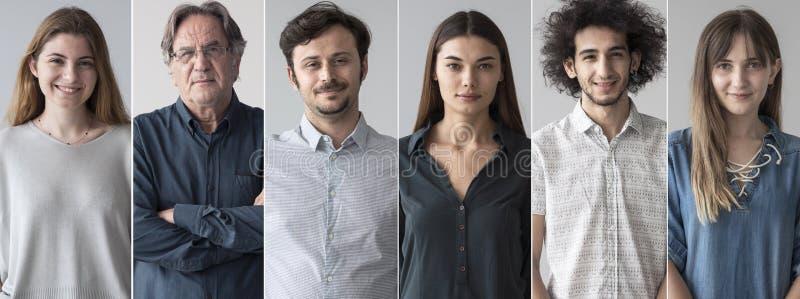 Portraits de collage de sourire de personnes photographie stock libre de droits