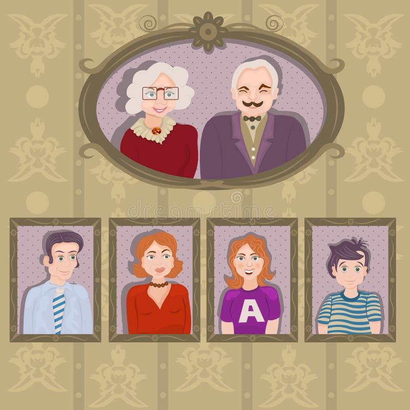 Portraits de famille dans les cadres illustration libre de droits