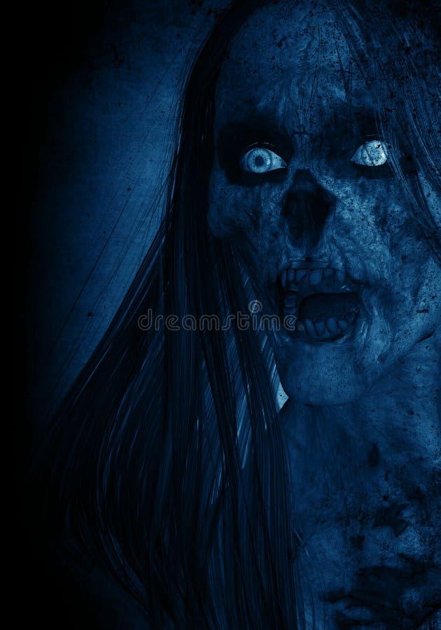 Portraits de femme fâchée effrayante de Ghost dans l'obscurité illustration stock