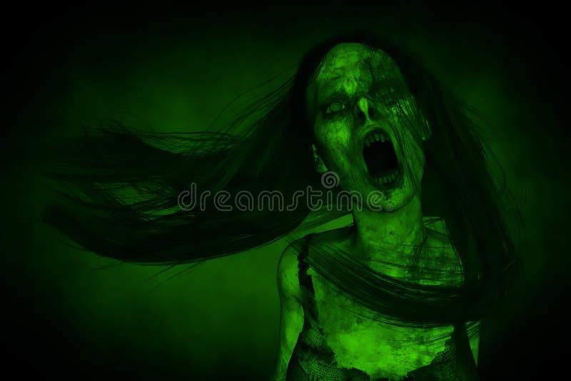 Portraits de femme fâchée effrayante de Ghost dans l'obscurité illustration de vecteur