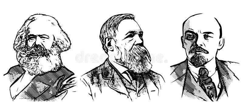Portraits de Marx, d'Engels et de Lénine illustration stock