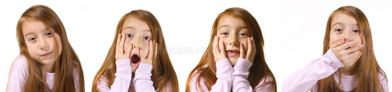 Portraits des emotionalen kleinen Mädchens stockbild