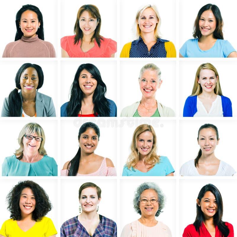Portraits des femmes diverses seulement photographie stock
