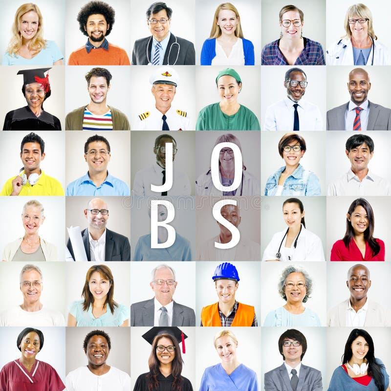 Portraits des personnes mélangées multi-ethniques de professions image libre de droits