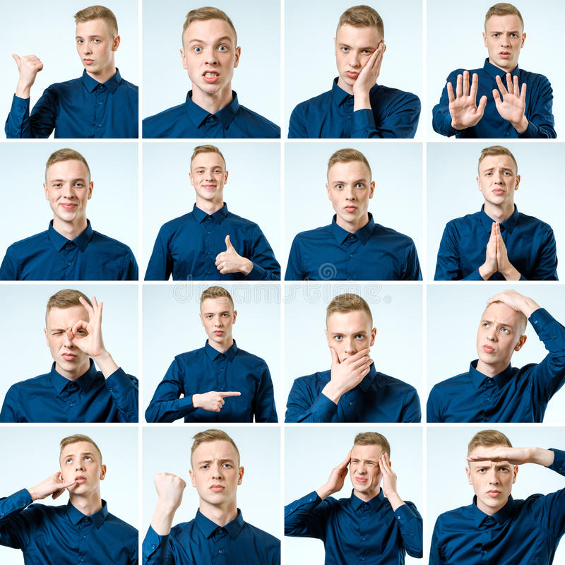 Portraits with different emotions and gestures stock photography
