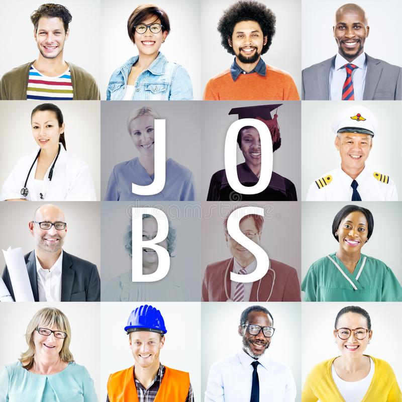 Portraits of Diverse People with Different Jobs stock photo