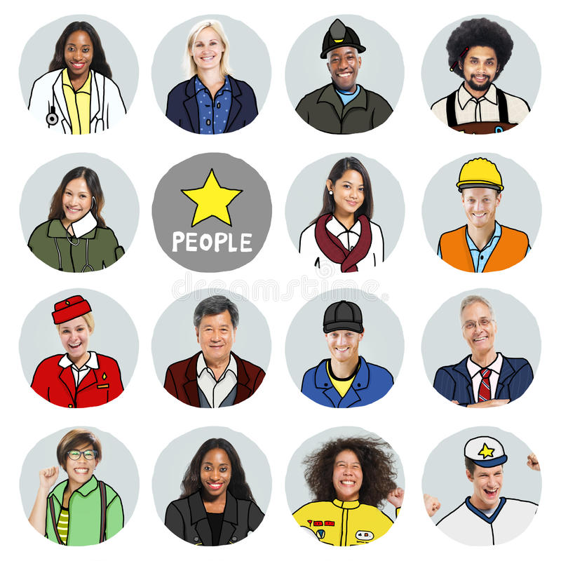 Portraits of Diverse People with Different Jobs stock photography