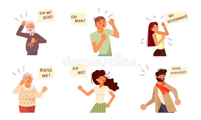 Portraits with fear and anxiety expressions. Set of Diverse people characters face emotions. Portraits with fear and anxiety expressions and speech bubbles above vector illustration