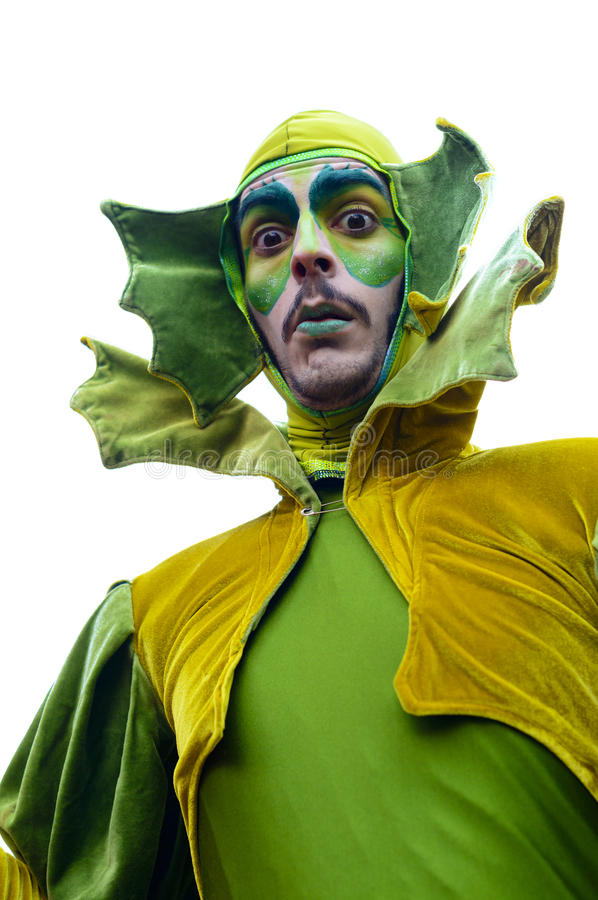Portraits from the Grand Carnival Parade 2016 in Madrid, Spain. A character from The Clowns of the Teatro Proyecto Bufo Company wearing a green costume. The stock photos
