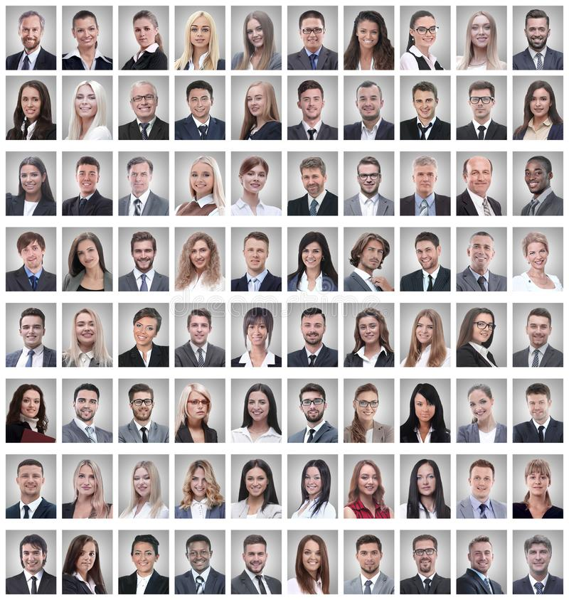 Portraits of a group of successful employees isolated on white royalty free stock photo
