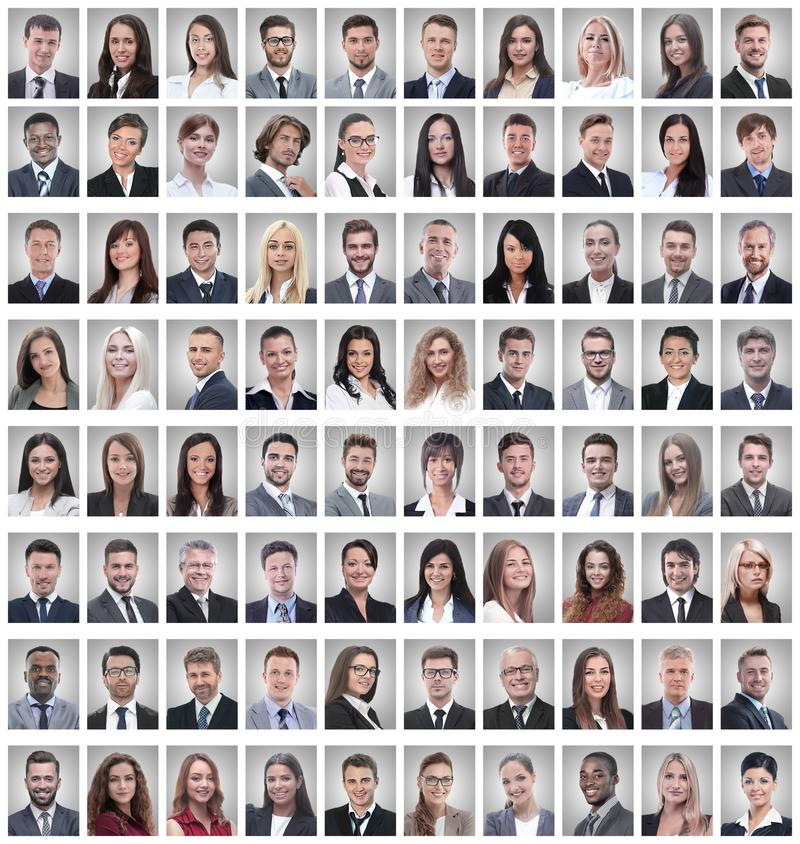 Portraits of a group of successful employees isolated on white royalty free stock photography