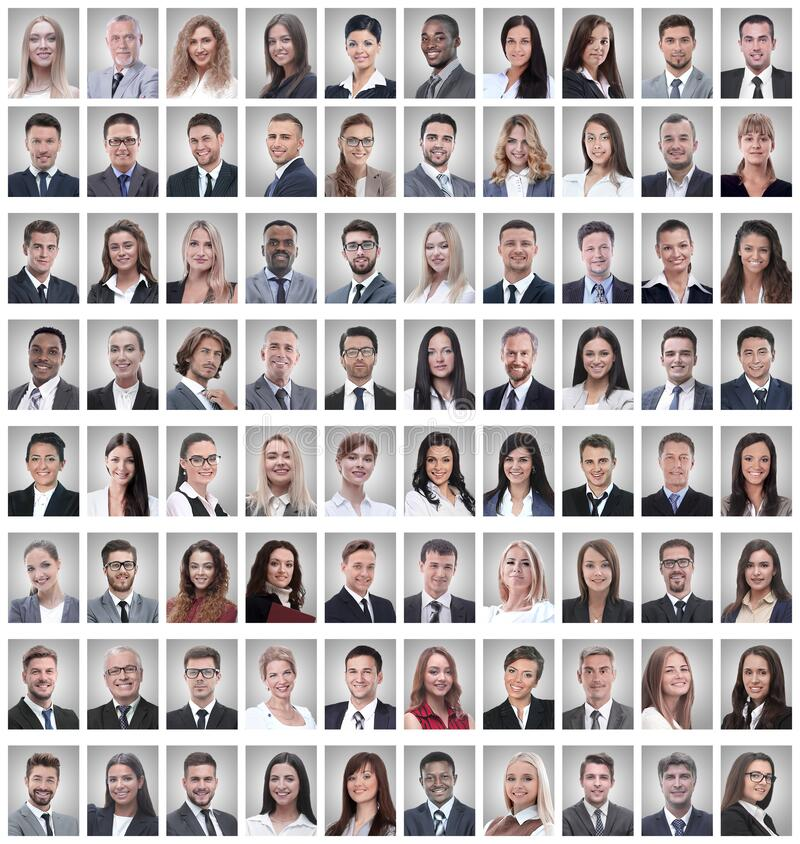 Portraits of a group of successful employees isolated on white. Photo collage stock photos