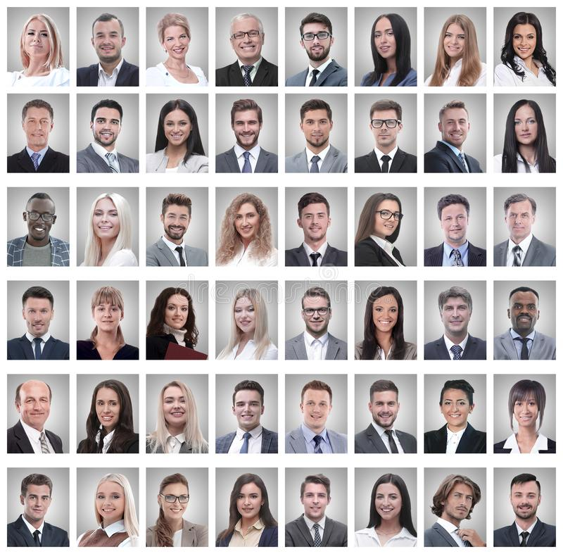 Portraits of a group of successful employees isolated on white. Photo collage royalty free stock image