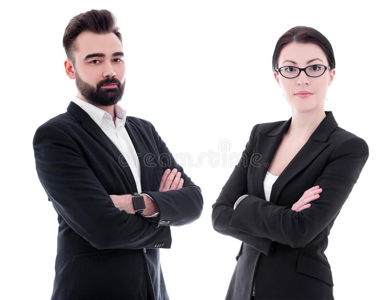 Portraits of handsome bearded businessman and beautiful businesswoman isolated on white royalty free stock image