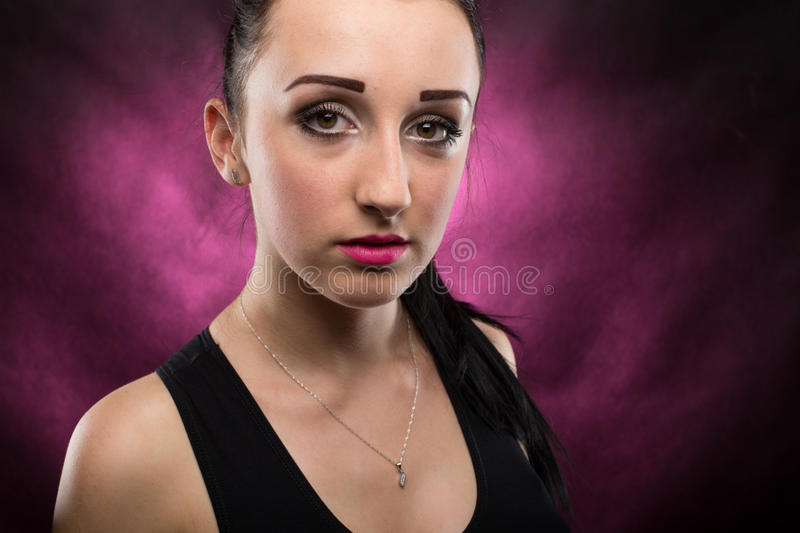 Portraits lovely girl in the studio royalty free stock images