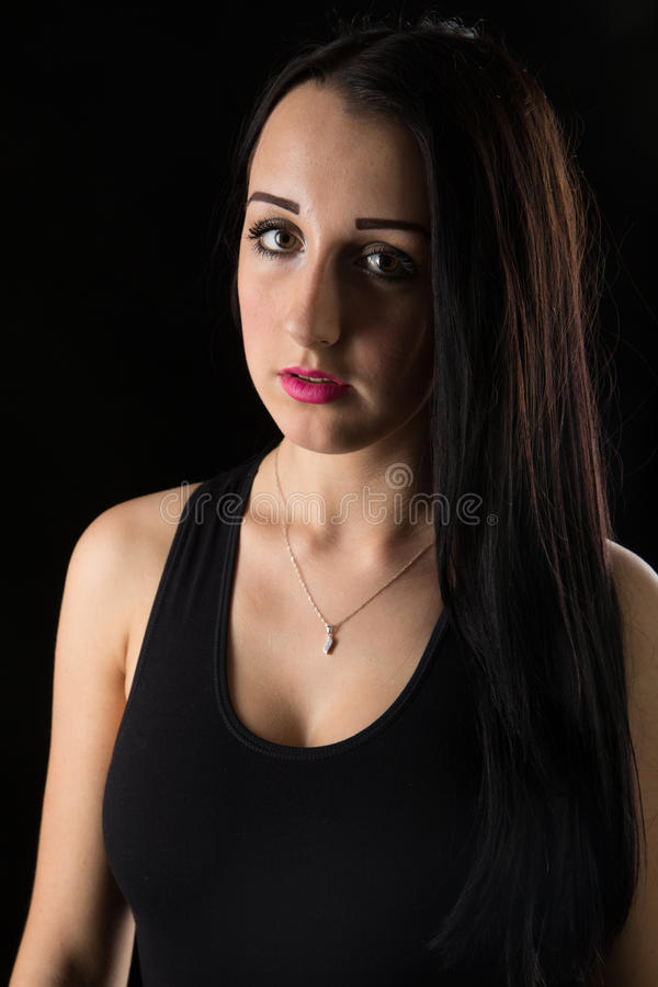 Portraits lovely girl in the studio royalty free stock image