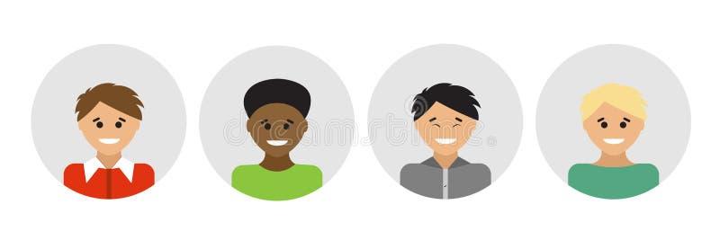 Portraits multi-ethniques de personnes Illustration de vecteur illustration stock