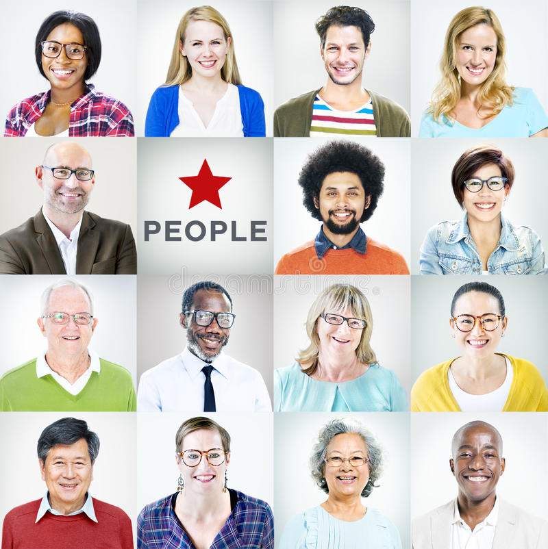 Portraits of Multiethnic Diverse Colorful People stock images