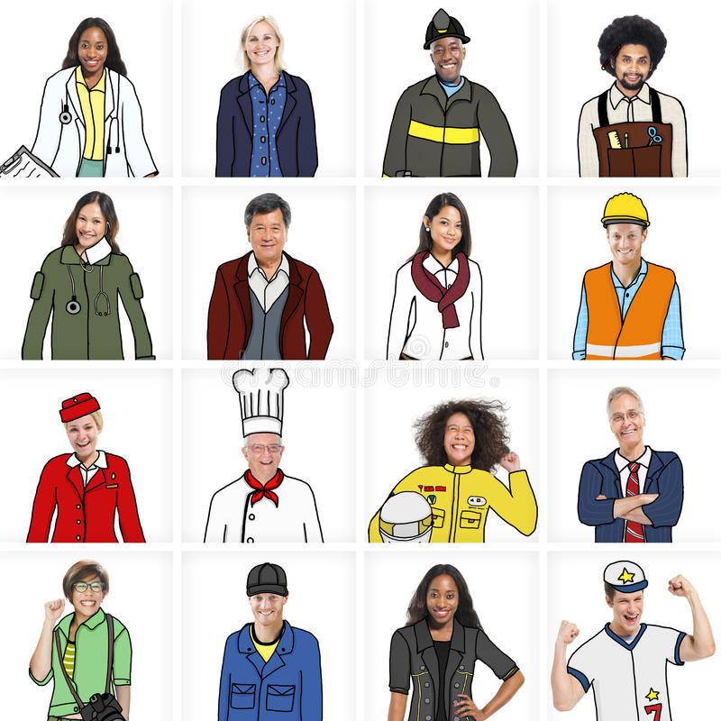 Free Portraits Of DIverse People With Different Jobs Stock Photos - 44044233
