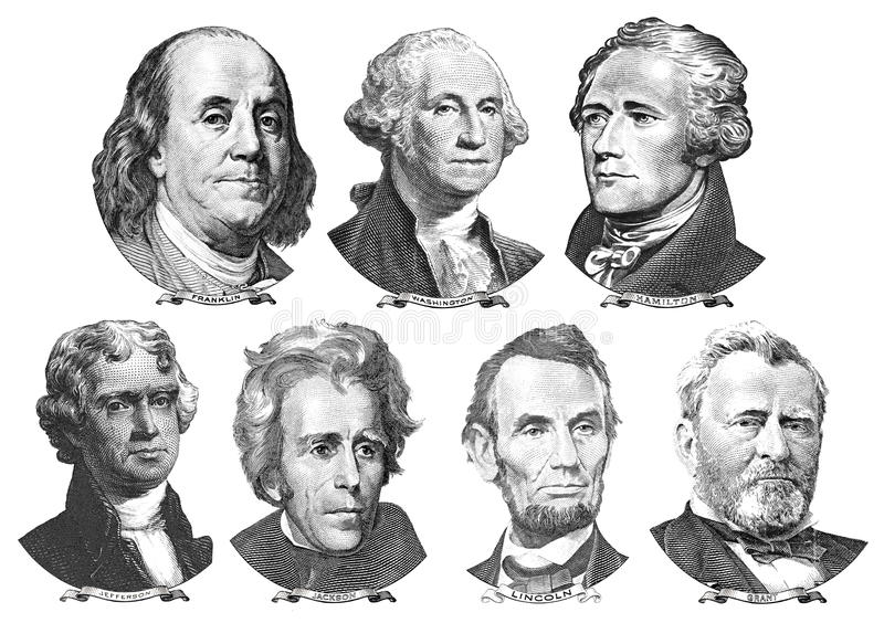 Portraits of presidents and politicians from dollars stock illustration
