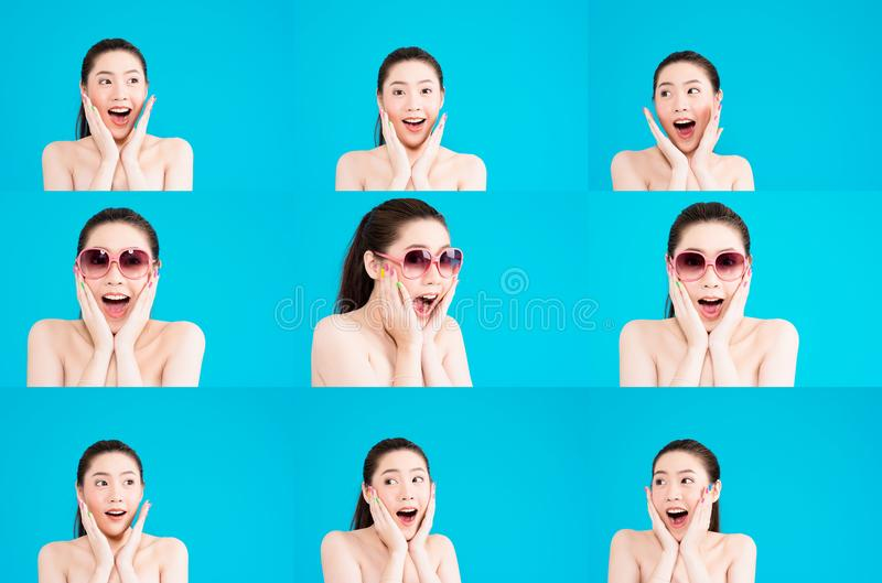 Girl with expressive faces. Portraits of a pretty young teenage girl cupping her face in her hands and with various expressions including shock, thoughtful stock images