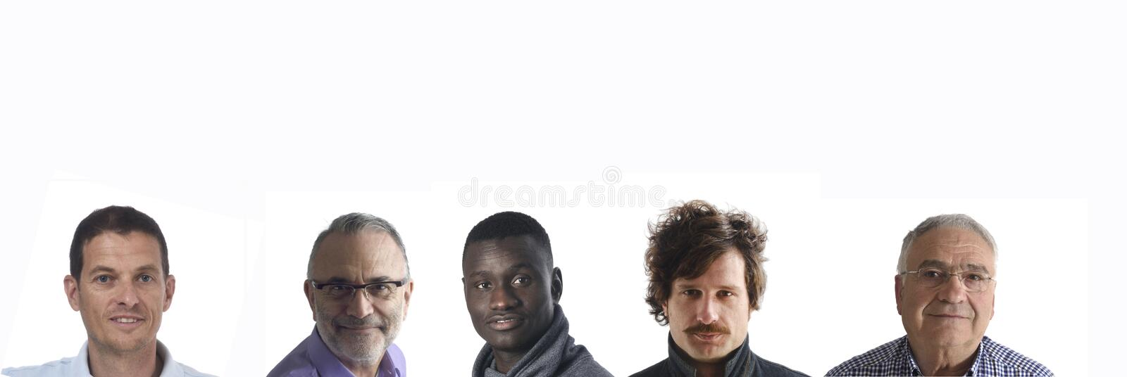 Portraits of several men on white background royalty free stock photography