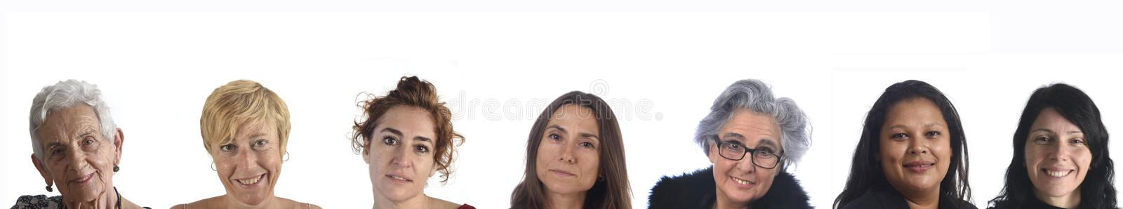 Portraits of several women on white background royalty free stock photography