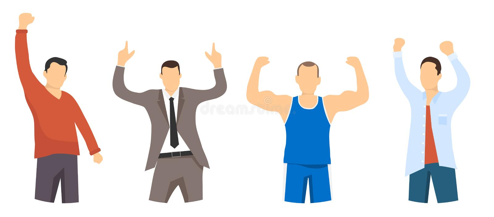Portraits of successful and confident people. People are winners. Businessman, athlete, office worker, student. Winner man.Flat, royalty free illustration