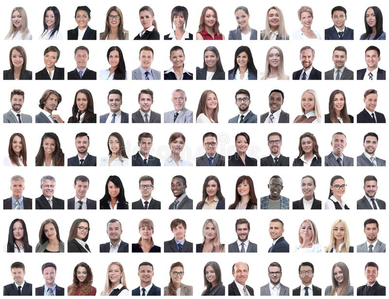 Portraits of successful employees isolated on a white stock image