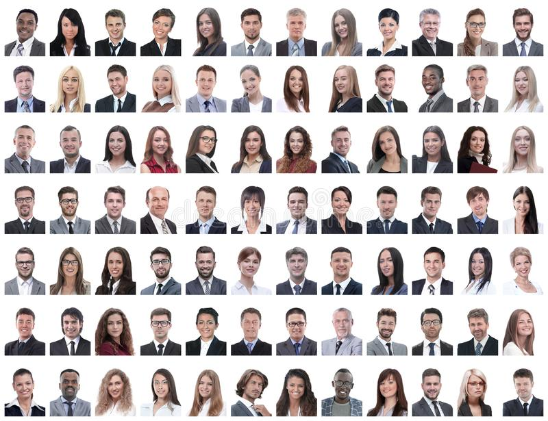 Portraits of successful employees isolated on a white royalty free stock photos