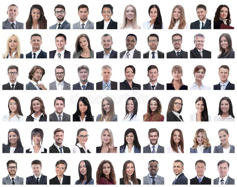 Portraits of successful employees isolated on a white stock photos