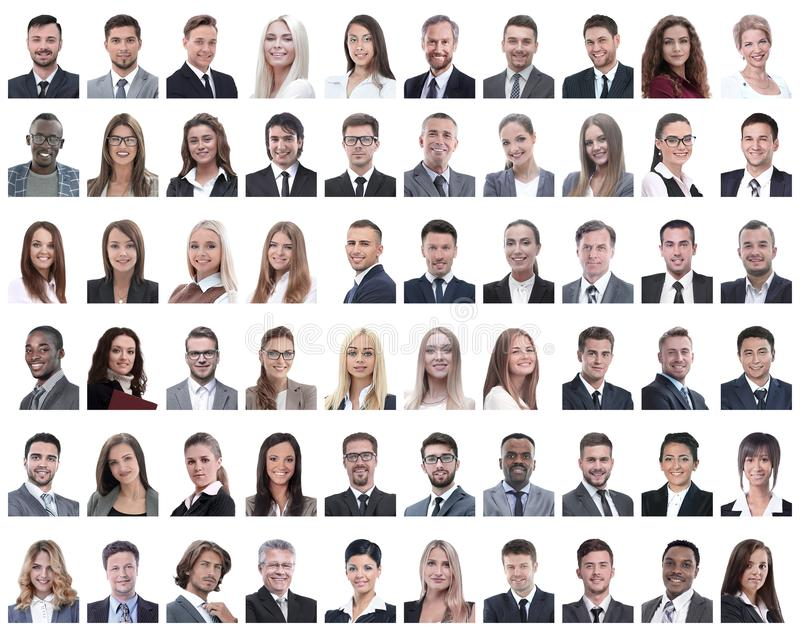 Portraits of successful employees isolated on a white. Background . photo collage royalty free stock photography