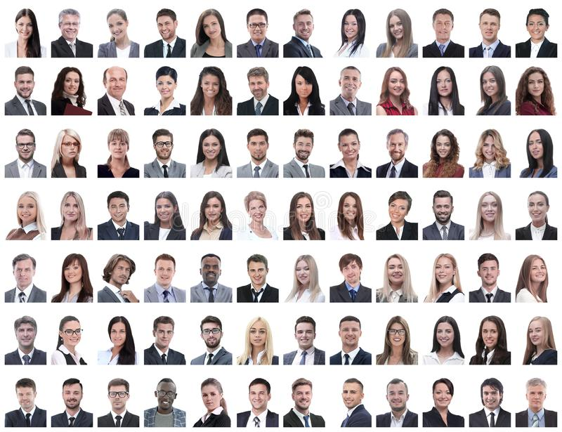 Portraits of successful employees isolated on a white. Background . photo collage stock photo