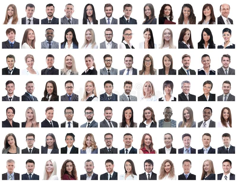 Portraits of successful employees isolated on a white. Background . photo collage stock images