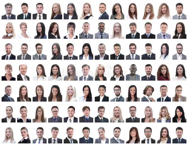 Portraits of successful employees isolated on a white stock photography