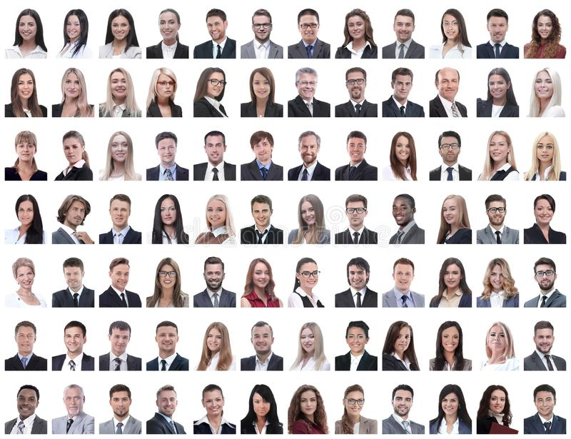 Portraits of successful employees isolated on a white. Background . photo collage royalty free stock images
