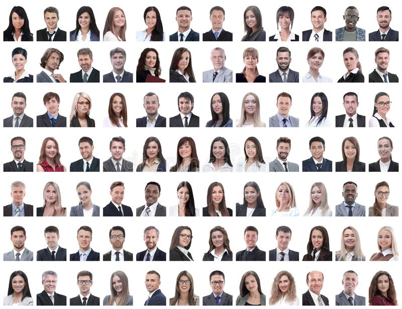 Portraits of successful employees isolated on a white stock photo