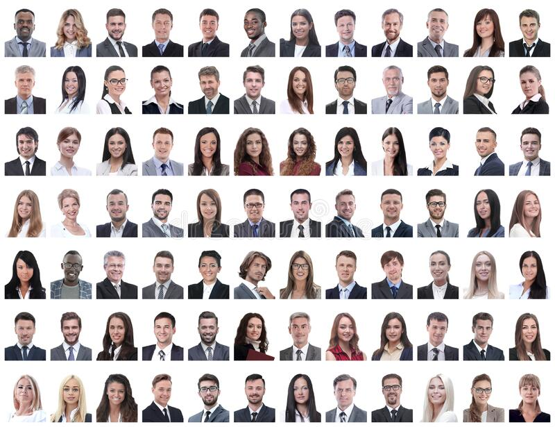 Portraits of successful employees isolated on a white. Background . photo collage royalty free stock photo