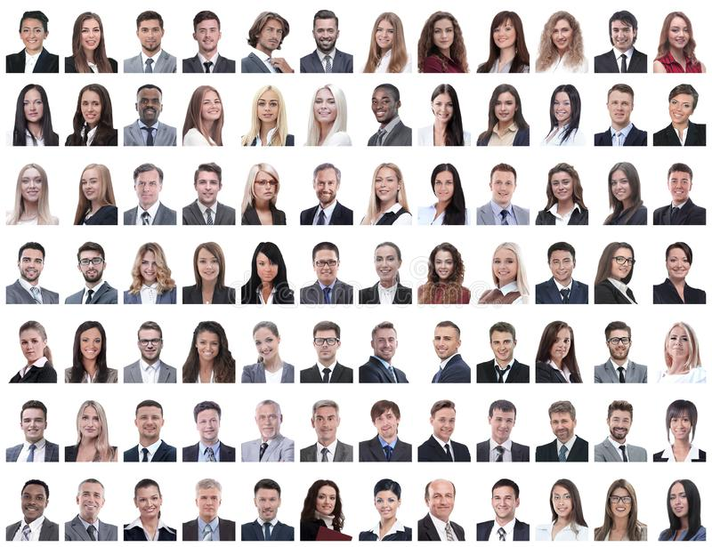 Portraits of successful employees on a white. Background . photo collage stock photography