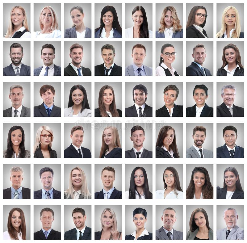 Portraits of successful young businessmen isolated on white. Photo collage royalty free stock photo
