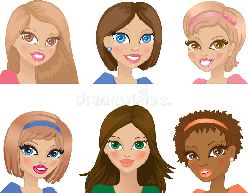 Download Portraits of young girls stock vector. Image of cartoon - 18532599