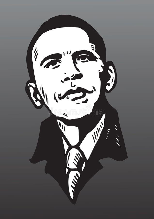 Portraitzeichnung von Barack Obama lizenzfreie abbildung
