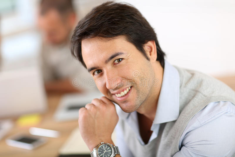 Portraot of smiling businessman working stock images