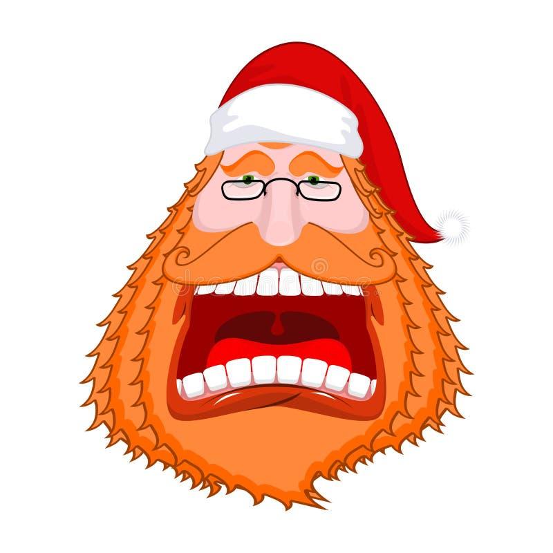 Portrat de Santa Claus con la barba y el casquillo rojos grandes Pelirrojo loco stock de ilustración