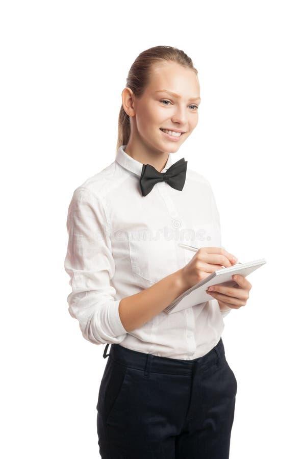 Portrat della cameriera di bar che prende ordine fotografie stock libere da diritti