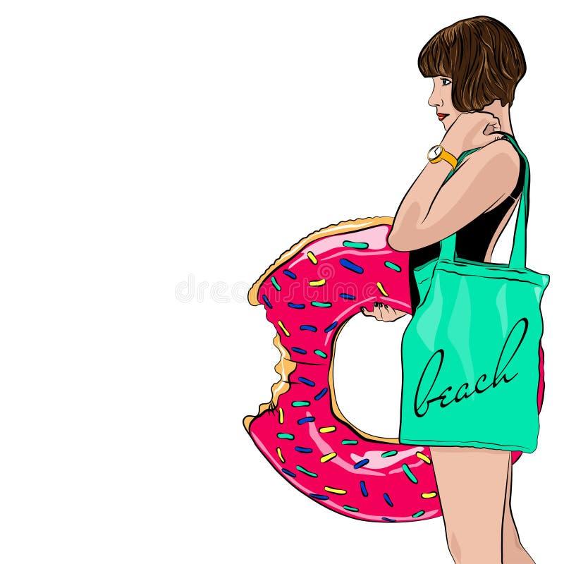 Portreit des sexy Mädchens mit aufblasbarem Ring des Donuts lizenzfreie stockfotografie