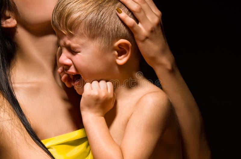 Portret śliczny płaczu dziecko zdjęcia royalty free
