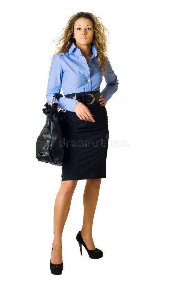 Portret ładna dziewczyna z torbą fotografia royalty free